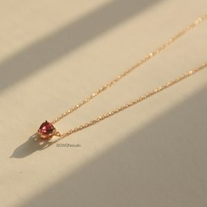 Ruby heart shaped 14k yellow gold necklace